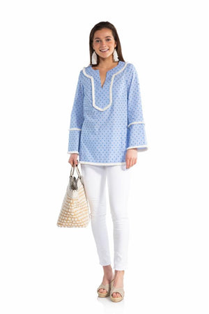 Clip Dot Long Sleeve Fringe Top