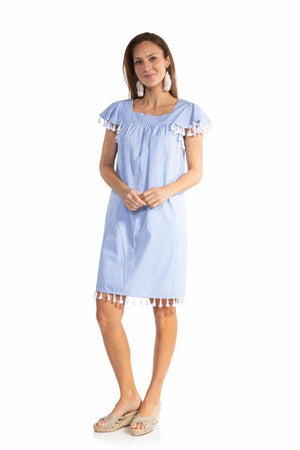 Gingham Short Sleeve Tassel Dress