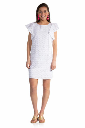 Eyelet Flutter Sleeve Dress