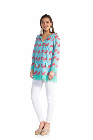 Crinkle Cotton Long Sleeve Tassel Top