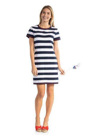 Short Sleeve Stripe Sweater Dress Navy/White