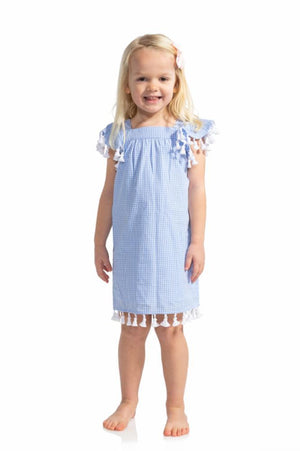Gingham Kids Tassel Dress
