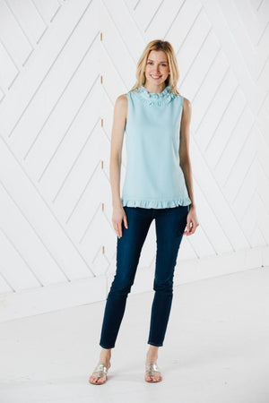 Sleeveless Double Ruffle Top - Available in Two Colors