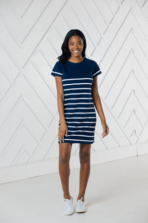 Short Sleeve Stripe Dress - Available in Two Colors