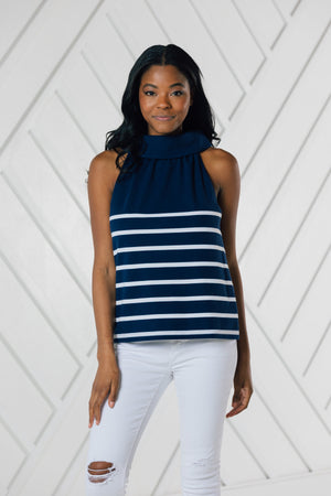 Cowl Neck Stripe Top - Available in Two Colors