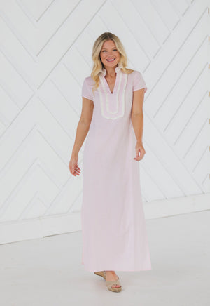 Stretch Linen Short Sleeve Maxi Tunic Blush