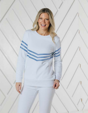 White with Hydrangea Stripe Sweatshirt