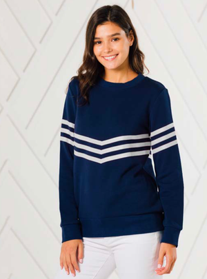 Navy with White Stripe Sweatshirt