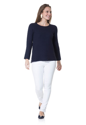 Long Sleeve Honeycomb Sweater Navy