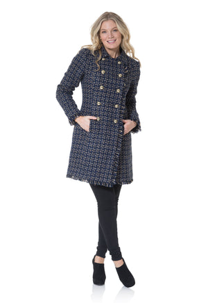 Tweed Double Breasted Button Up Coat