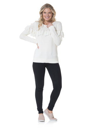 Cotton Tassel Front Sweater Ivory