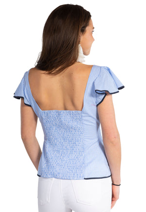 Gingham Shirred Back Flutter Sleeve Top