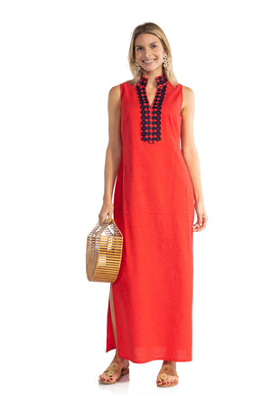 Sleeveless Classic Maxi Tunic Red