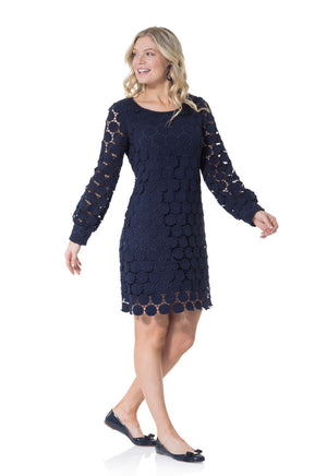Cotton Dot Lace Long Sleeve Dress