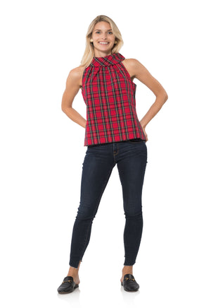 Stretch Cotton Plaid Cowl Neck Top Red