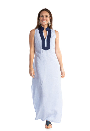 Stripe Linen Sleeveless Classic Maxi Tunic