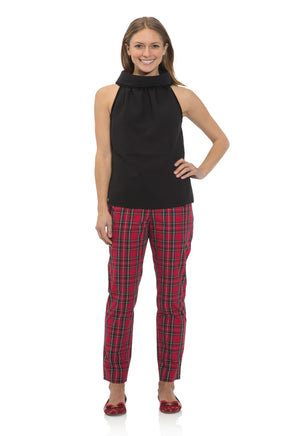 Stretch Cotton Plaid Pants Red