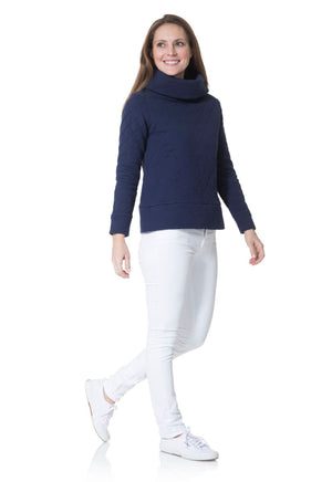 Quilted French Terry Cowl Neck Pullover Navy