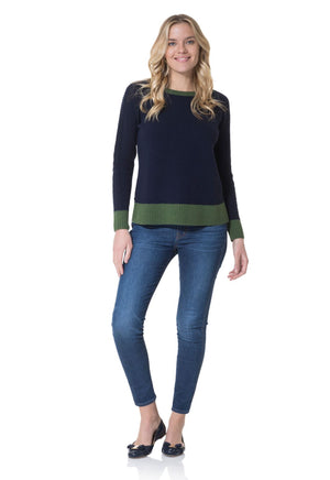 Merino Wool Pom Pom Sweater Navy
