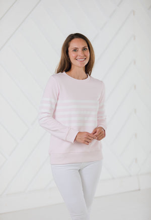 Stripe French Terry Sweatshirt Blush
