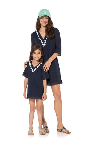 Tassel Up: Navy Crinkle Cotton Kids Tunic