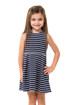 Navy & White Stripe Ponte Kids Tank Dress