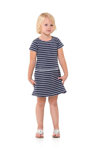 Navy & White Stripe Ponte Kids T-Shirt Dress