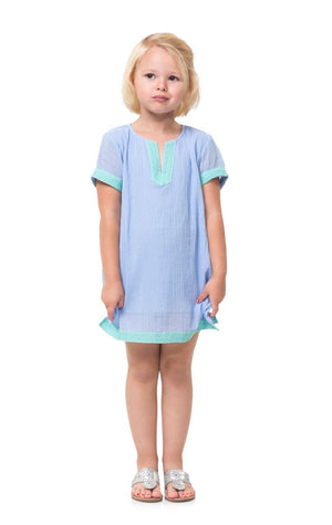 Crinkle Cotton Kids Hydrangea Tunic with Lace