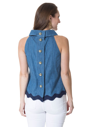 Chambray Cowl Neck Top