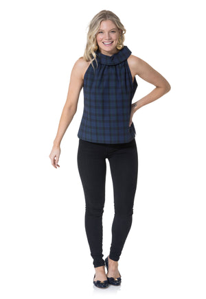 Stretch Cotton Plaid Cowl Neck Top Navy