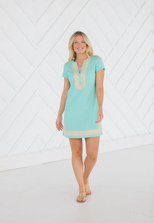 Stretch Linen Short Sleeve Tunic Dress Mint