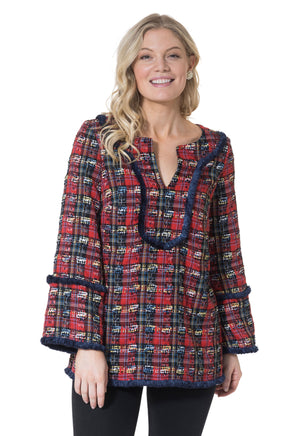Plaid Tweed Long Sleeve Fringe Tunic Top