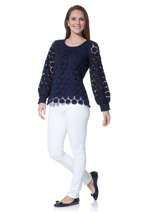 Cotton Dot Lace Long Sleeve Top