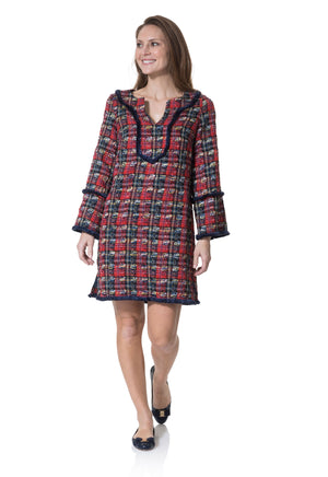 Plaid Tweed Long Sleeve Fringe Tunic Dress