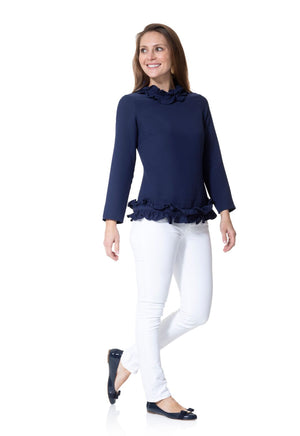 Double Ruffle Long Sleeve Top Navy