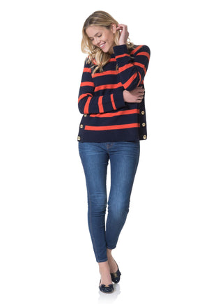 Merino Wool Long Sleeve Stripe Sweater Navy/Apple