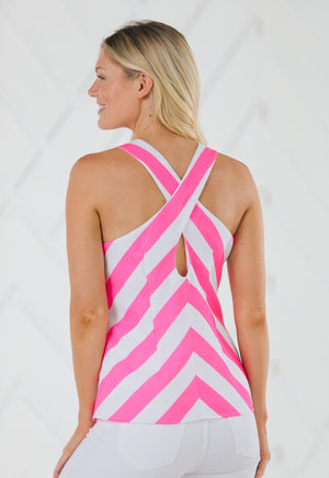 Stripe Cross Back Tank Top