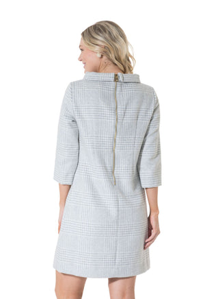 Grey Plaid Long Sleeve Dress