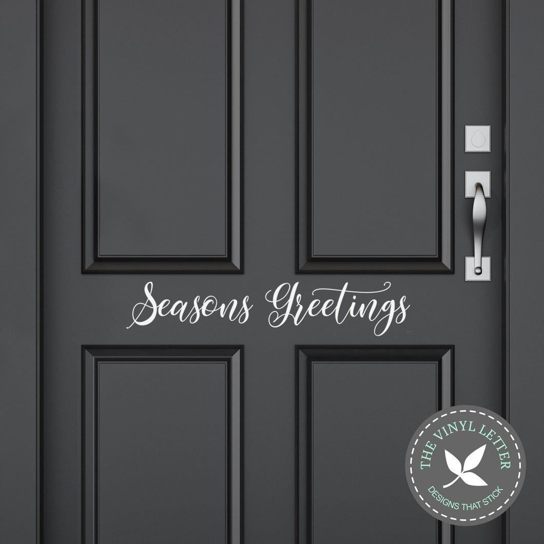Seasons Greetings Front Door Decal | Christmas Vinyl Decal | Home Decor Sticker