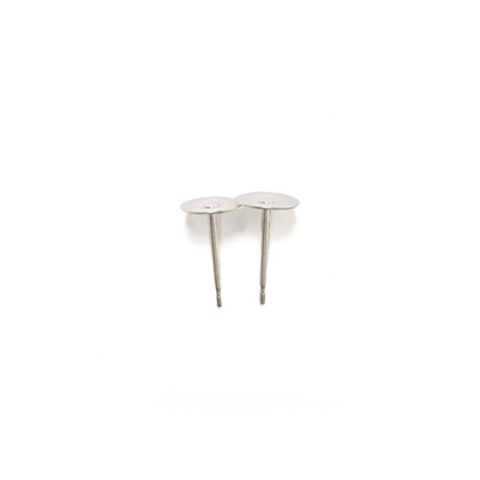 Flat Pin Pad, Sterling Silver, 10mm; 1 pair