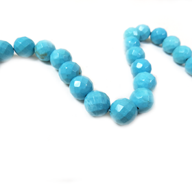 Round Faceted Turquoise Bead, 10mm - 1 strand