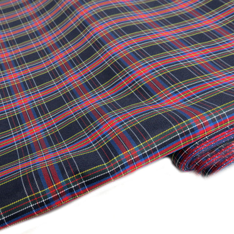 "School Plaids, Black Blue Red Yellow White, 60"" Wide; 1 yard"