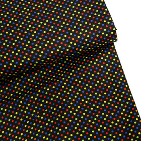 Black Background with Multicolored Polka Dots Fabric- 100% Cotton Print Fabric, 44/45