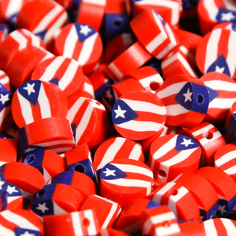 Polymer Clay Beads - Puerto Rico Flag - 5pcs