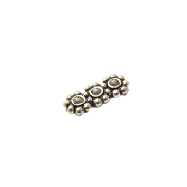 Three Strand Wheel Spacer, Sterling Silver, 6x14mm; 1 piece