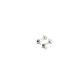 Ball Ear With Ring, Sterling Siver, 4mm; 1 pair