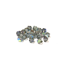Swarovski Crystal, Bicone, 4mm - Black Diamond AB; 20 pcs