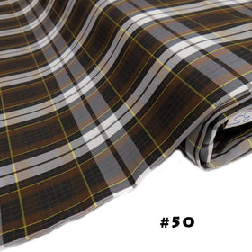 School Plaids, Brown Black Yellow White, 60