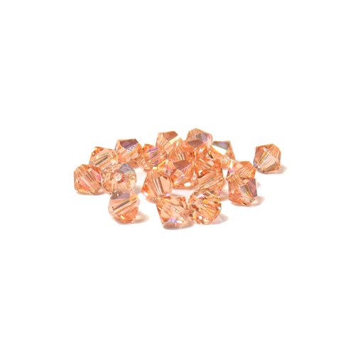 Swarovski Crystal, Bicone, 5mm - Light Peach AB; 20 pcs