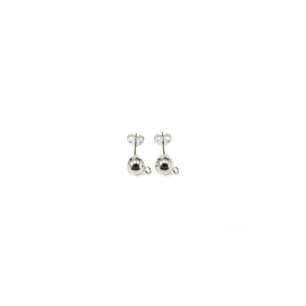 Ball Ear With Ring, Sterling Siver, 6mm; 1 pair